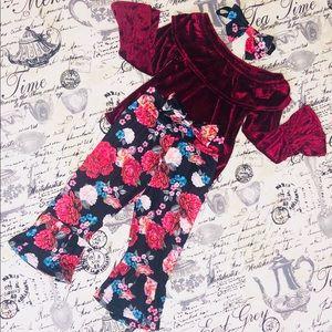 Floral Velvet Little Girls Outfit